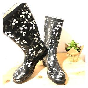 Black/White Aqua Stop Rain Boots (w/ Floral Print)